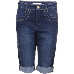 Denim blå bermuda shorts m. stretch (Fit 55 - Loose fit) - Studio