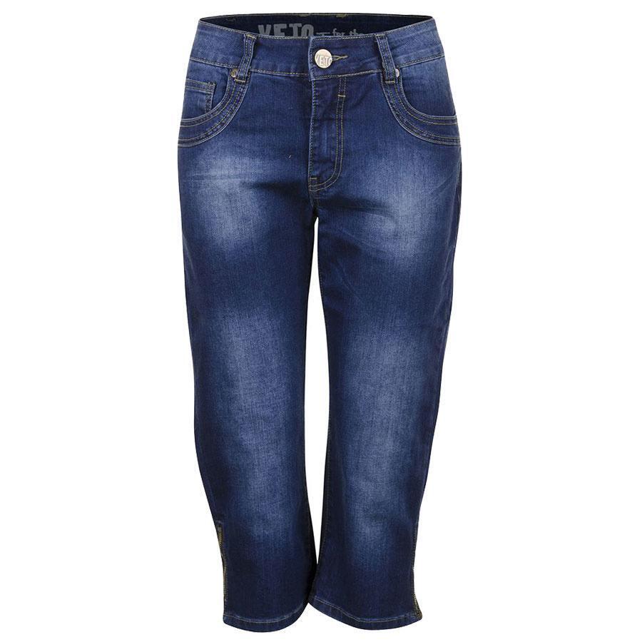 Blå capri bukser med slid effekt Veto