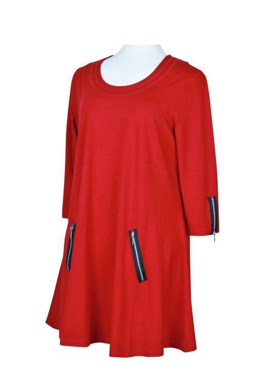 786f5ec3758a Elegant rød KANOK tunika - SANDY - Str. L til 4XL (42-54)