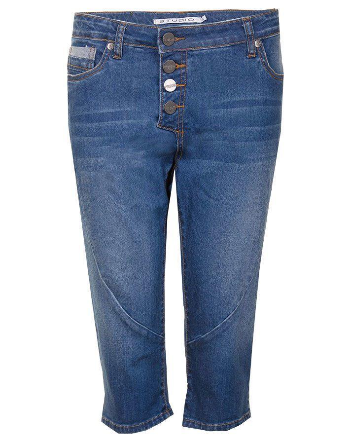 Denimblå capri jeans m. let stenvask Studio